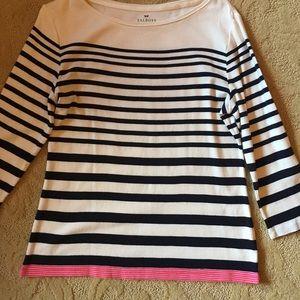 Talbot's White/navy/pink striped knit top